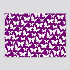 Purple and White Pretty Butterflies 5'x7'Area Rug