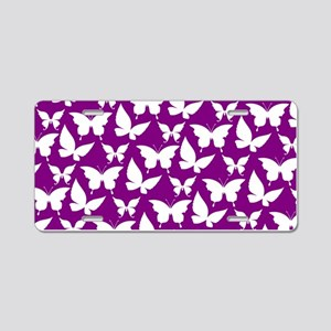 Purple and White Pretty But Aluminum License Plate