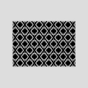 Gothic Black Tile Pattern 5'x7'Area Rug