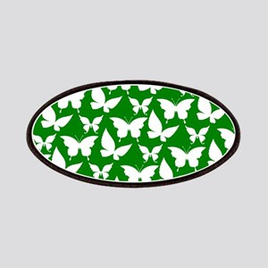 Green and White Pretty Butterflies Pattern Patches