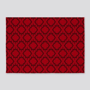 Gothic Red Tile Pattern 5'x7'Area Rug