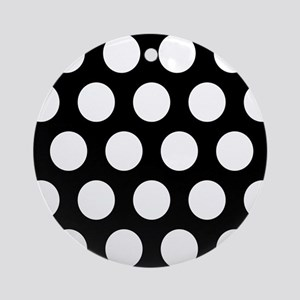 # Black And White Polka Dots Ornament (Round)