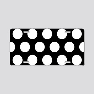 # Black And White Polka Dots Aluminum License Plat