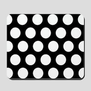 # Black And White Polka Dots Mousepad