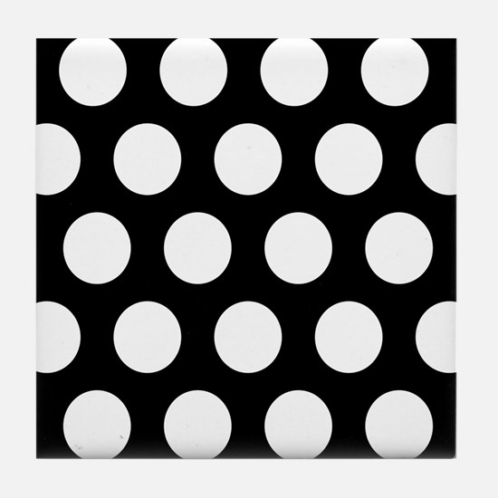 # Black And White Polka Dots Tile Coaster