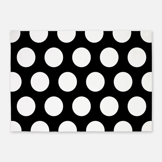# Black And White Polka Dots 5'x7'Area Rug
