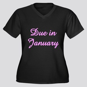 Due In January Women's Plus Size V-Neck Dark T-Shi