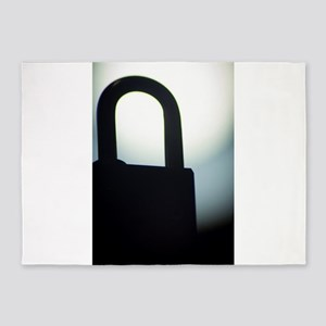 Combination code padlock silhouette 5'x7'Area Rug