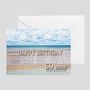 60th birthday, writing on a beach Greeting Cards