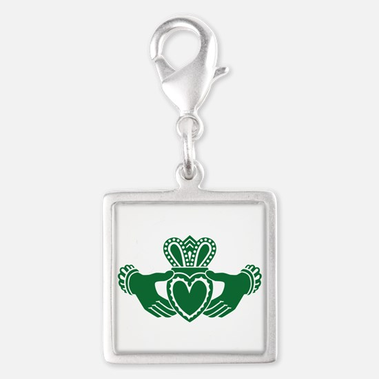 Celtic claddagh Silver Square Charm