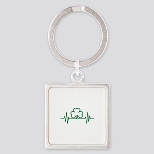 Shamrock frequency Square Keychain