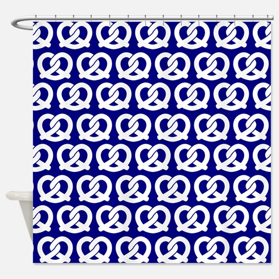 Navy and White Twisted Yummy Pretze Shower Curtain