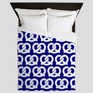 Navy and White Twisted Yummy Pretzels Queen Duvet