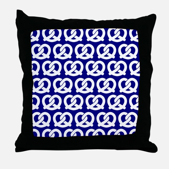 Navy and White Twisted Yummy Pretzels Throw Pillow