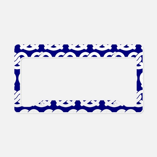 Navy and White Twisted Yummy License Plate Holder