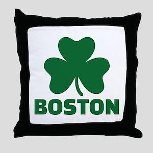 Boston shamrock Throw Pillow