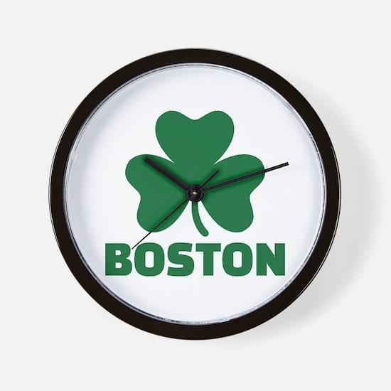 Boston shamrock Wall Clock