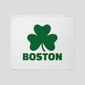Boston shamrock Throw Blanket