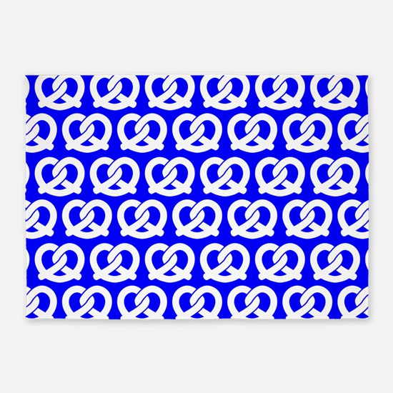 Blue and WhiteTwisted Yummy Pretzel 5'x7'Area Rug