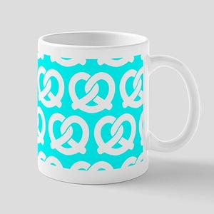 Aqua and White Twisted Yummy Pretzels P Mug