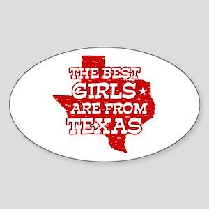 Texas Girl Oval Sticker