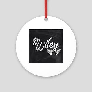 Vintage Wifey Round Ornament