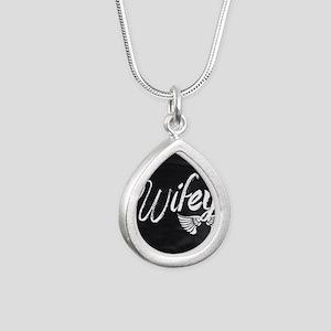 Vintage Wifey Silver Teardrop Necklace