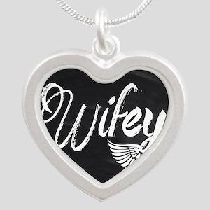 Vintage Wifey Silver Heart Necklace