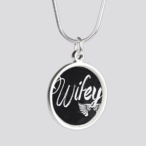 Vintage Wifey Silver Round Necklace