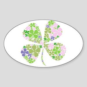 Lucky Multi Four-Leaf Clover Oval Sticker