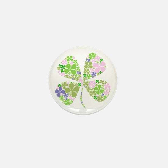 Lucky Multi Four-Leaf Clover Mini Button