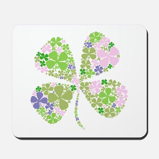 Lucky Multi Four-Leaf Clover Mousepad