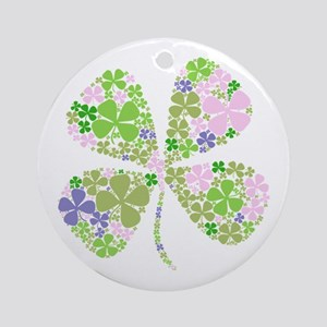 Lucky Multi Four-Leaf Clover Ornament (Round)