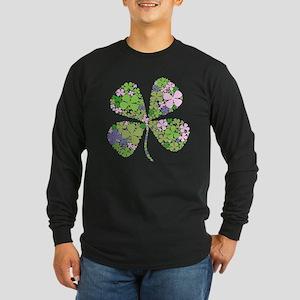 Lucky Multi Four-Leaf Clover Long Sleeve Dark T-Sh