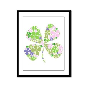 Lucky Multi Four-Leaf Clover Framed Panel Print