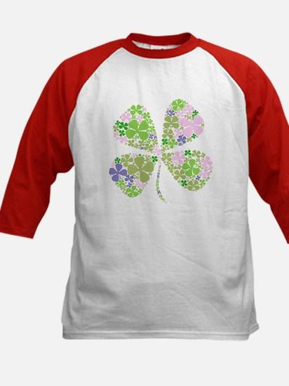 Lucky Multi Four-Leaf Clover Kids Baseball Jersey