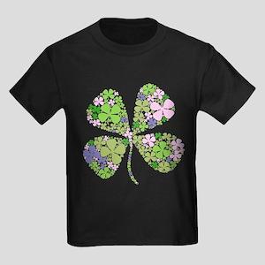 Lucky Multi Four-Leaf Clover Kids Dark T-Shirt