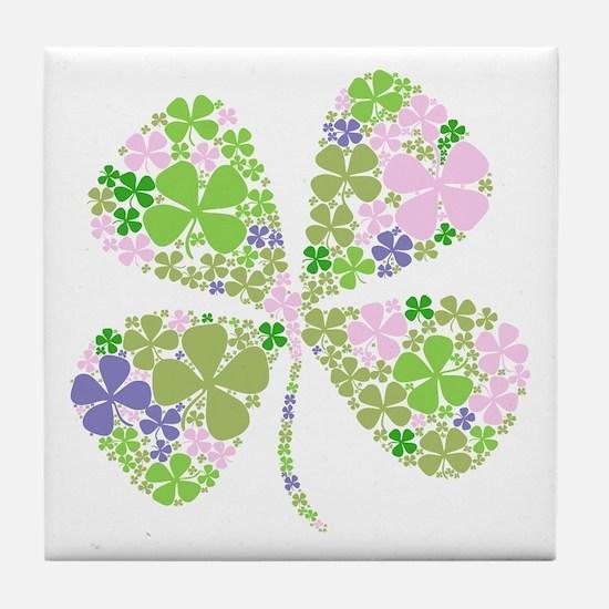 Lucky Multi Four-Leaf Clover Tile Coaster