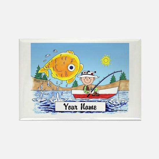 Cute Fishing cartoon Rectangle Magnet