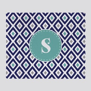 Navy Blue Ikat Diamond Pattern Monogram Throw Blan