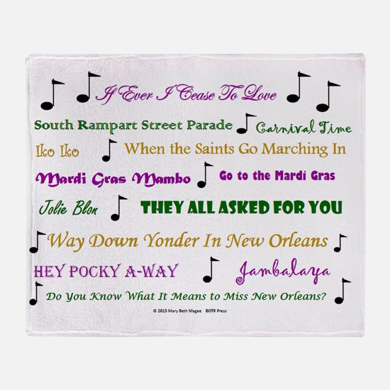 Mardi Gras Music Throw Blanket