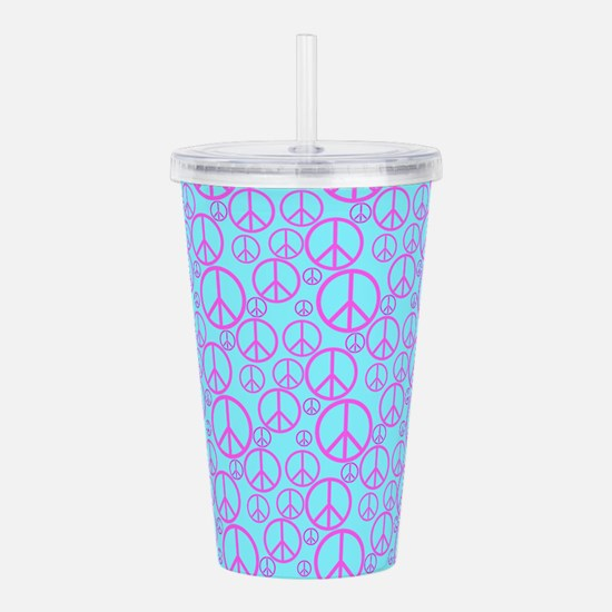 Colorful Peace Signs Acrylic Double-wall Tumbler