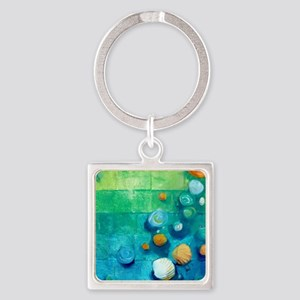 Blue Green Shells Colorful Abstract Art Keychains