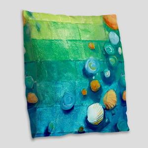 Blue Green Shells Colorful Abstract Art Burlap Thr