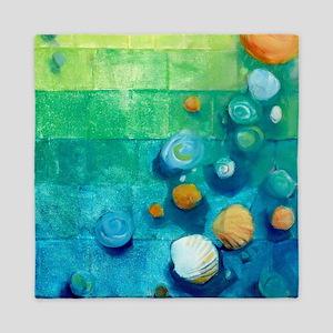 Blue Green Shells Colorful Abstract Art Queen Duve