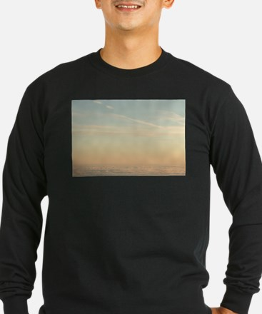 Sky with clouds in blue and pi Long Sleeve T-Shirt