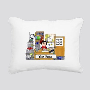 Office - Messy, Female Rectangular Canvas Pillow