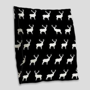 Black And White Deer Burlap Throw Pillow