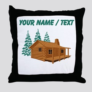 Custom Cabin In The Woods Throw Pillow