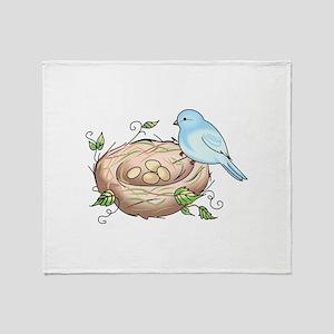 BIRD AND NEST Throw Blanket